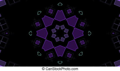 Moving purple geometric shapes on a black background