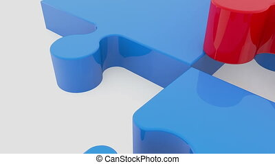 Moving puzzle pieces in red and blue colors on white