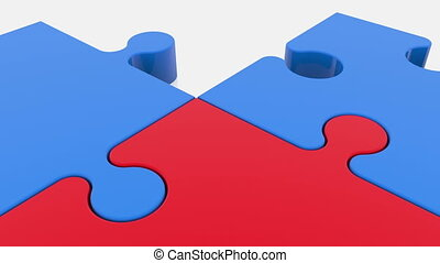 Moving puzzle pieces in red and blue colors