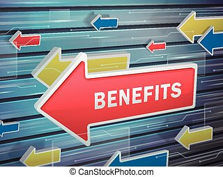 moving red arrow of benefits word on abstract high-tech background