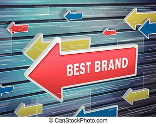 moving red arrow of best brand words
