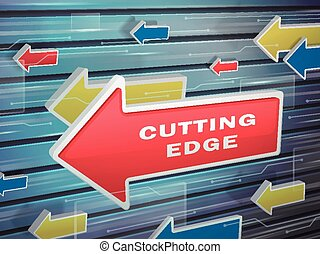 moving red arrow of cutting edge words on abstract high-tech...