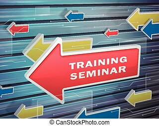 moving red arrow of training seminar words
