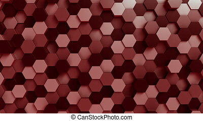 Moving red hexagons - Abstract hexagonal motion background