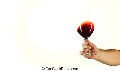 Moving red wine glass, white