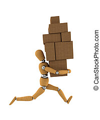 Moving Rush - Wooden mannequin moving heavy boxes around ...