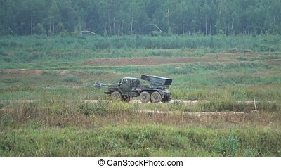 Moving Russian army multiple rocket launcher