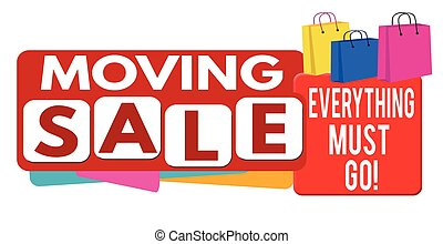 Moving sale banner or label