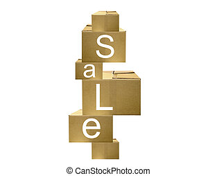 moving sale - illustration of stacks of empty boxes with the...