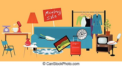 Moving yard sale with household items lied in the yard, EPS 8 vector illustration