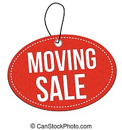 Moving sale label or price tag - Moving sale red leather...