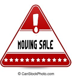 MOVING SALE on red triangle road sign. Illustration