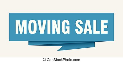 moving sale sign. moving sale paper origami speech bubble....