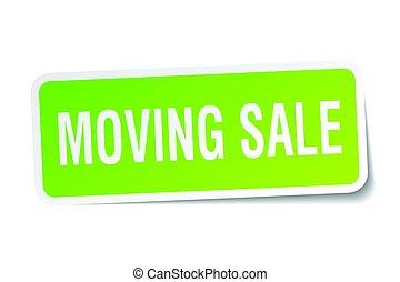 moving sale square sticker on white