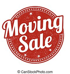 Moving sale stamp - Moving sale grunge rubber stamp on white...