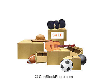 moving sale - illustration of stacks of empty boxes and a...