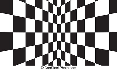 Moving seamless background chessboard pattern in perspective, black and white geometric design.