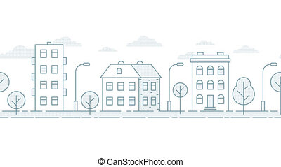 Moving seamless urban landscape in a minimalist style. Loop...