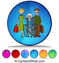 Moving senior to nursing home mosaic crystal set.