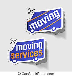 Moving services labels - Vector illustration of moving...