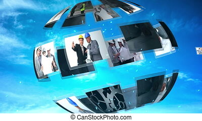 Moving sphere of engineering and architecture clips on blue sky background