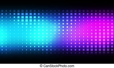 Moving squares against a black background