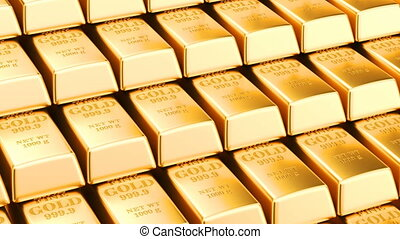 Moving stacks of gold bars, animated background with golden ingots. 3D rendering