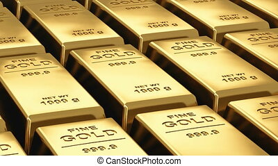 Moving stacks of gold bars - Endless loopable moving stacks...