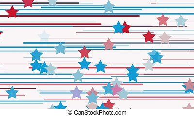 Moving stars and lines in blue, white and red colors