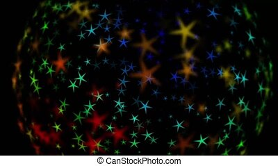 Moving stars in a sphere. Vibrant colored stars. Sphere of stars. Moving stars.