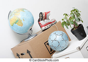 Moving boxes and possessions