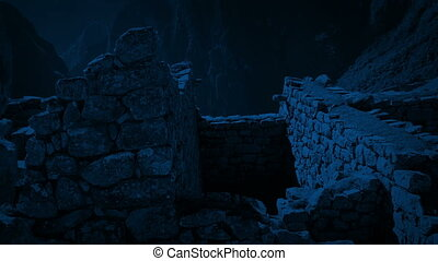 Moving Through Ancient Building Ruins In The Moonlight -...