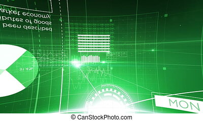 Moving Through Network Grid of Lines and Dots Green Color...