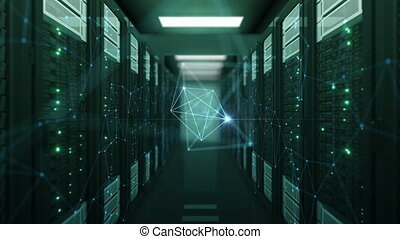 Moving Through Network Grid with Flashes in Abstract Datacenter Net Connections and Links. Looped 3d Animation. Futuristic Business and Digital Technology Concept. 4k Ultra HD 3840x2160.