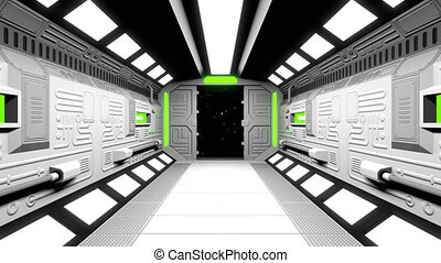 Moving through opening spaceship gateway in to the outer space. Futuristic spacecraft tunnel Interior. 3d render animation.