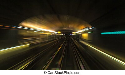 Moving through subway tunnel timelapse in Paris