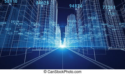 Moving Through the Abstract Digital City with Numbers and Grids. 3d Blueprint. Business and Technology Concept. Blue color 3d animation.