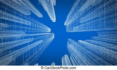 Moving Through the Beautiful Modern City Digital 3d Blueprint Up View. Construction and Technology Concept. Blue Color 3d Animation Looped. 4k UHD