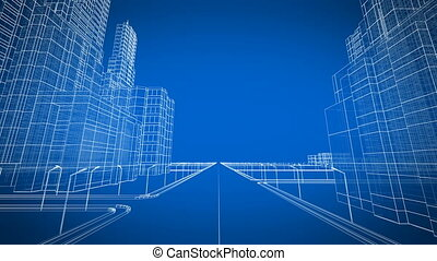 Moving Through the Growing Modern City Digital 3d Blueprint. Construction and Technology Concept. Blue color 3d animation.
