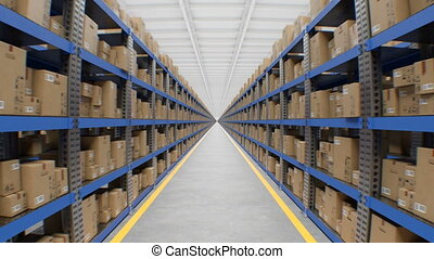 Moving Through the Huge Beautiful Warehouse with Cardboard Boxes on Metal Shelf Seamless. Looped 3d Animation of Modern Storage Automated System. Delivery Concept. 4k Ultra HD 3840x2160.