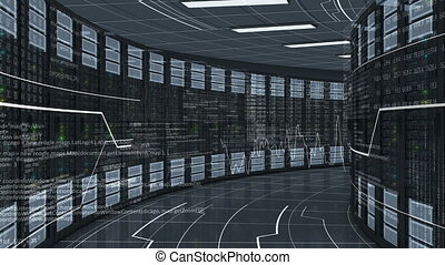 Moving Through the Working Rack Servers in Modern Datacenter. Cloud Computing Data Storage. Complex Calculations. Looped 3d animation. 4k Ultra HD 3840x2160.