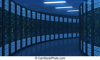 Moving Through the Working Servers in Modern Datacanter. Cloud Computing Data Storage. Complex Calculations. Looped 3d animation. 4k Ultra HD 3840x2160.