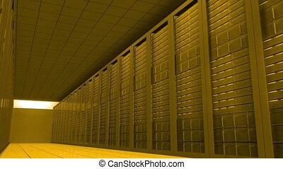 Moving through yellow server room - Digital animation of...