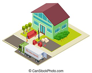 Moving to a new home, furniture delivery vector isometric illustration