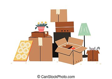 Moving to a new home. The family moved to a new home. Paper cardboard boxes with various household items. Vector illustration in a flat style