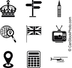 Moving to England icons set, simple style