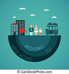 Moving to new home vector concept in flat style