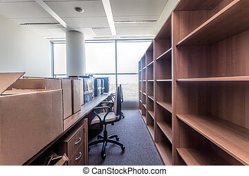Moving to new office - Shelves and paper boxes, moving to ...