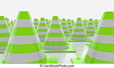 Moving traffic cones with green