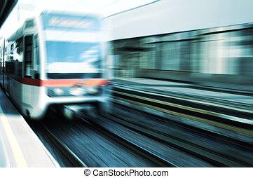 Moving train on platform
